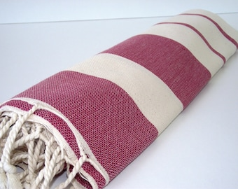 High Quality Hand Woven Turkish Cotton Bath,Beach,Pool,Spa,Yoga,Travel Towel or Sarong-Natural Cream and Burgundy