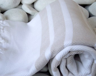 Best Quality Turkish Bath Towel -Peshtemal- Cream and Pale Brown Color Striped