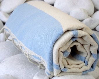 High Quality Hand Woven Turkish Cotton Bath,Beach,Pool,Spa,Yoga,Travel Towel or Sarong-Natural Cream and Pale Blue