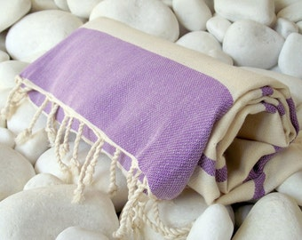 New-High Quality Hand-Woven Turkish Cotton Bath,Beach,Spa,Yoga Towel or Sarong-Natural Cream and Purple