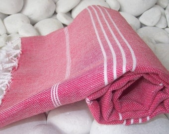Best Quality Hand-Woven Turkish Cotton Bath Towel or Sarong- Red and White Stripes