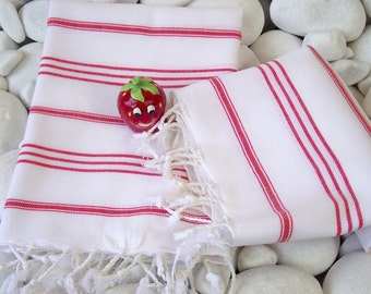 Best Quality Set of 2 Hand Woven Turkish Cotton Hand Towel,Head Towel,Tea Towel or Unisex Neck Warmer-Red Stripes on White Color