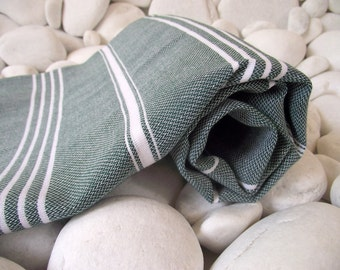 Best Quality Hand Woven Turkish Cotton Bath Towel or Sarong-White Stripes on Forest Green