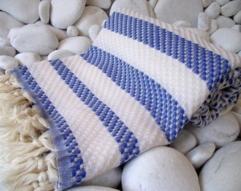 Soft Best Quality Hand Woven Turkish Cotton Bath Towel or Sarong-Mathing Natural Cream,White and Sailor Blue