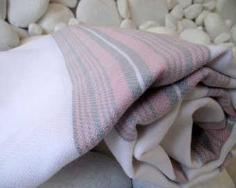 Soft Best Quality Hand Woven Turkish Cotton Bath Towel or Sarong-Pastel Pink and Pastel Grey Stripes on White
