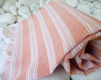 Best Quality,Hand Woven,Light Turkish Cotton Bath Towel or Sarong-Peach and White Stripes