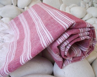 Best Quality,Hand Woven,Light Turkish Cotton Bath Towel or Sarong-Dark Red and White Stripes