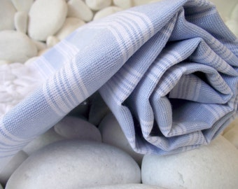 Best Quality,Hand Woven,Light Turkish Cotton Bath Towel or Sarong-Pale Blue and White Stripes