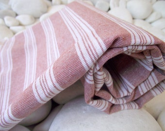 Best Quality,Hand Woven,Light Turkish Cotton Bath Towel or Sarong-Burgundy and White Stripes