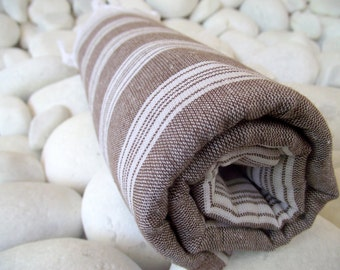 Best Quality,Hand Woven,Light Turkish Cotton Bath Towel or Sarong-Brown and White Stripes