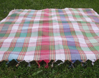 Country Style-Traditional Turkish Picnic Cover-Hand Woven,Turkish Cotton Picnic Cover,Garden or Kitchen Tablecloth-Multicolor Checked