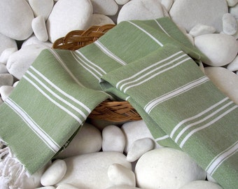 High Quality- Set of 2- Hand Woven Turkish Cotton Hand Towel,Hair Towel or Unisex Neck Warmer-White Stripes on Olive Green