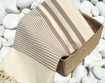 Turkishtowel-High Quality Hand Woven Turkish Cotton Bath,Beach,Pool,Spa,Yoga Towel or Sarong- Soft Brown Stripes on Natural Cream