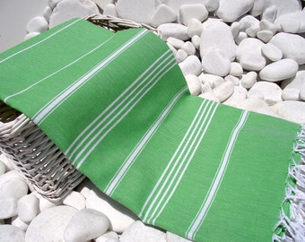High Quality Hand Woven Turkish Cotton Bath,Beach,Pool,Spa,Yoga Towel or Sarong-White Stripes on Bright Green