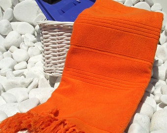 High Quality Hand Woven Turkish Cotton Thick Soft Bath,Beach,Pool,Spa,Yoga Towel or Sarong-Orange-Red Stripes