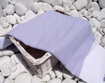 High Quality Hand Woven Turkish Cotton Bath,Beach,Pool,Spa,Yoga,Travel Towel or Sarong-Salior Blue Stripes on White