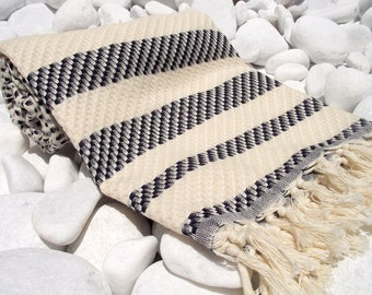 High Quailty Hand  Woven Turkish Cotton Bath,Beach,Pool,Spa,Yoga,Travel Towel or Sarong - Mathing Naturel Cream and ,Black