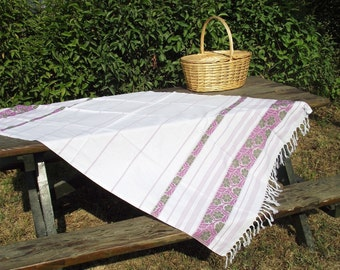 Soft,High Quality,Hand Woven Turkish Cotton Bath,Beach,Pool,Spa,Yoga Towel or Sarong-Lilac,Violet,Green Flowers and Stripes on White
