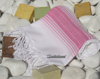 Soft Best Quality ,(PESHTEMAL)Hand Woven Turkish Cotton Bath Towel or Sarong-Bright Pink Stripes on White