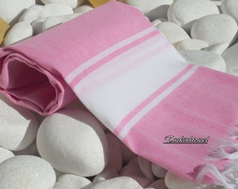 Best Quality,Hand Woven,Light Turkish Cotton Bath,Beach,Pool,Spa,Yoga Towel or Sarong-WhiteStripes on Pink