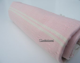 High Quality Hand-Woven Turkish cotton Soft Bath,Beach,Pool,Spa,Yoga,Travel Towel or Sarong-Pale Baby Pink on Natural Cream