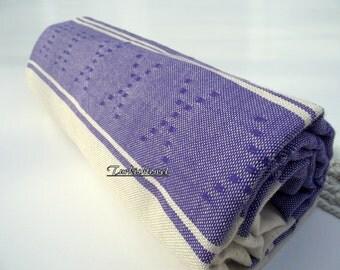 High Quality Hand-Woven Turkish cotton Soft Bath,Beach,Pool,Spa,Yoga,Travel Towel or Sarong-Blue Purple on Natural Cream