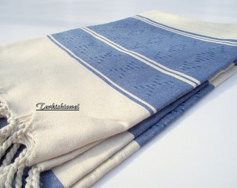 High Quality Hand-Woven Turkish cotton Soft Bath,Beach,Pool,Spa,Yoga,Travel Towel or Sarong-Navy Blue on Natural Cream