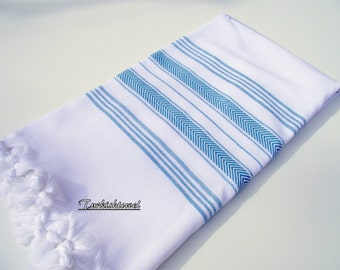 High Quality Hand Woven Turkish Cotton Soft, Bath,Beach,Spa,Pool,Yoga,Travel Towel or Sarong-Emerald Green Stripes on White