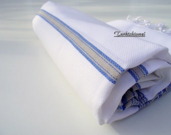 Soft High Quality Hand Woven Turkish Cotton Bath,Beach,Pool,Spa,Yoga,Travel Towel or Sarong or Wrap-Sailor Blue and Beige  Stripes on White