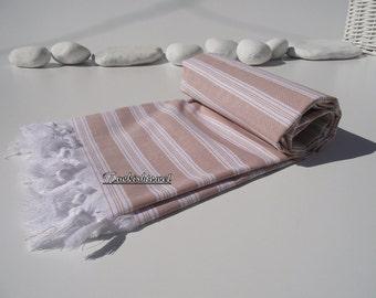 High Quality,Hand Woven,Light,Turkish Cotton,Bath,Beach,Spa,Yoga,Travel Towel or Sarong-Begie,Cinnamon and White Stripes