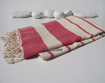 Best Quality Hand Woven Turkish Cotton Bath Towel or Sarong-Natural Cream and Red