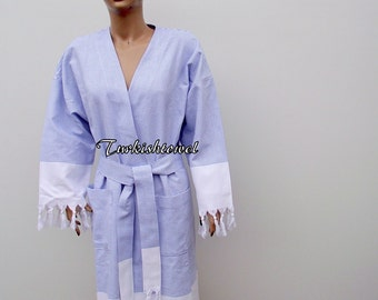 BATH ROBE-Traditional Turkish-High Quality,Hand Woven,Turkish Cotton,Spa,Yoga,Travel From Peshtemal-Sailor Blue Stripes on White