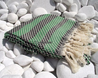 Turkishtowel-High Quality,Hand Woven,Cotton,Bath,Beach,Spa,Yoga,TravelTowel or Sarong-Mathing-Natural Cream,Black and Green