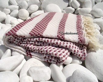 Turkishtowel-High Quality,Hand Woven,Cotton,Bath,Beach,Spa,Yoga,TravelTowel or Sarong-Mathing-Natural Cream and Burgundy