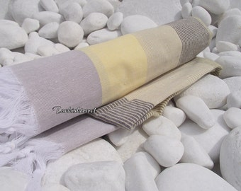 Turkishtowel-High Quality,Hand Woven,Cotton Bath,Beach,Pool,Spa,Yoga,Travel Towel or Sarong-White,Grey,Yellow Stripes
