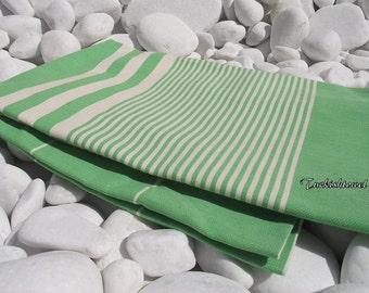 Turkishtowel-High Quality,Hand Woven,PureCotton,Bath,Beach,Pool,Spa,Yoga,Travel Towel or Sarong-Natural Cream Stripes on Grass Green