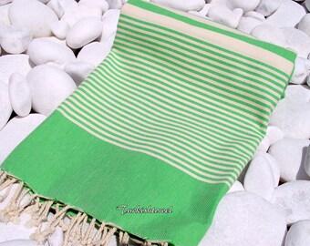 Turkishtowel-High Quality Hand Woven Turkish Cotton Bath,Beach,Pool,Spa,Yoga Towel or Sarong-Natural Cream Stripes on Grass Green