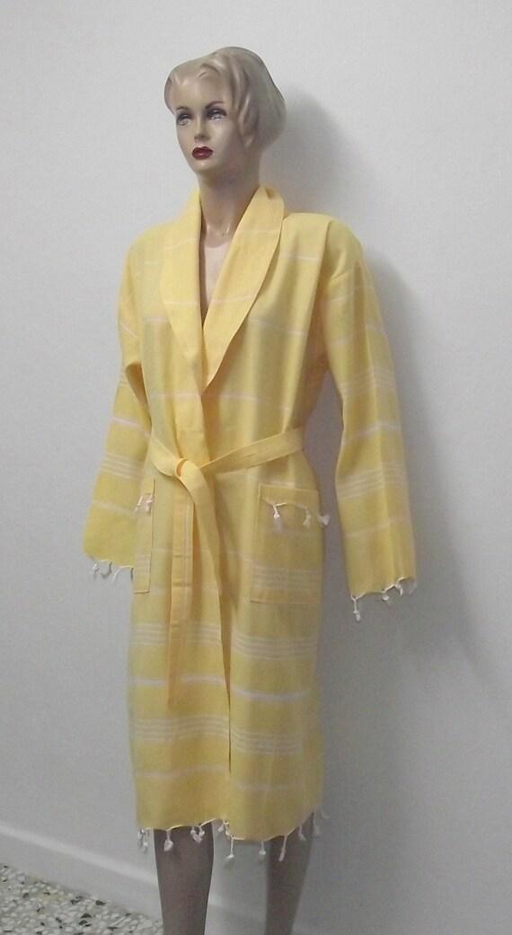 Turkish Bath Robe from Peshtemal-Yellow Color White Striped-Unisex