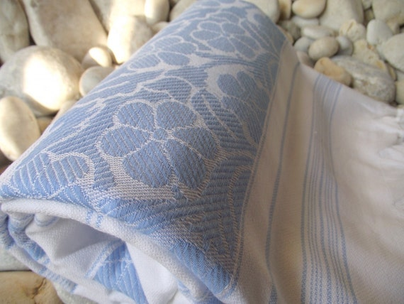Soft,Best Quality Hand-Woven Turkish Cotton Bath Towel or Sarong-Pale Blue Flowers and Stripes on White