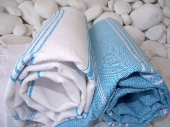 Set of 2-High Quality Hand Woven Turkish Cotton Bath,Beach,Pool,Spa,Yoga,Travel Towels or Sarong-Turquoise, White Stripes on White,Turquoise