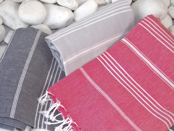 Best Quality Set of 3 Hand Woven Turkish Cotton Bath Towels or Sarong-White Stripes on Grey,White Stripes on Black and White Stripes on Red
