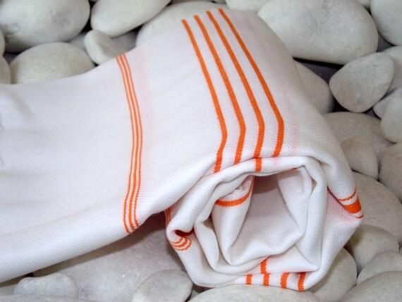 Hand Woven Best Quality Turkish Cotton Bath Towel or Sarong-Orange Stripes on White