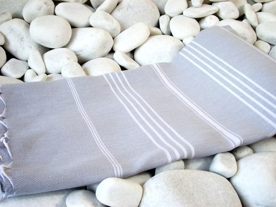 Best Quality Hand-Woven Turkish Cotton Bath Towel or Sarong- White Stripes on Pale Grey