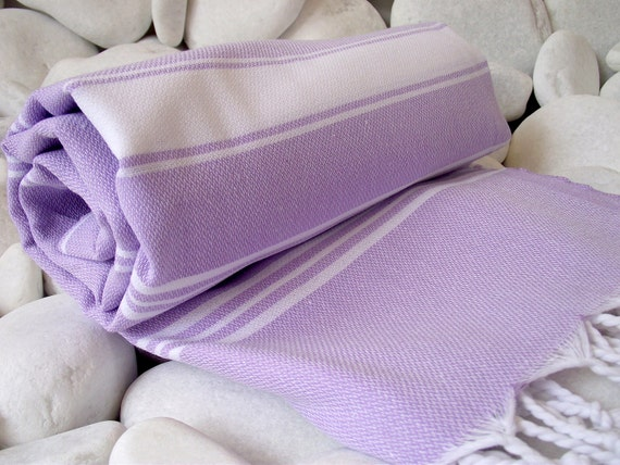 Best Quality Hand - Woven Turkish Cotton Bath Towel or Sarong Lilac and White stripes