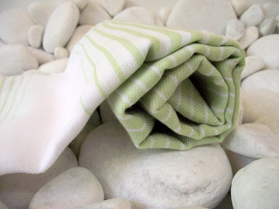 Soft and Light Best Quality Hand Woven Turkish Cotton Bath Towel or Sarong-Lime Green and White Stripes