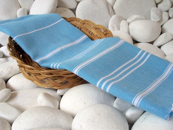 Turkishtowel-High Quality,Pure Cotton,Hand,Hair,Head,Tea,Dish,Baby,Travel Towel or Unisex Neck Warmer-White Stripes on Turquoise