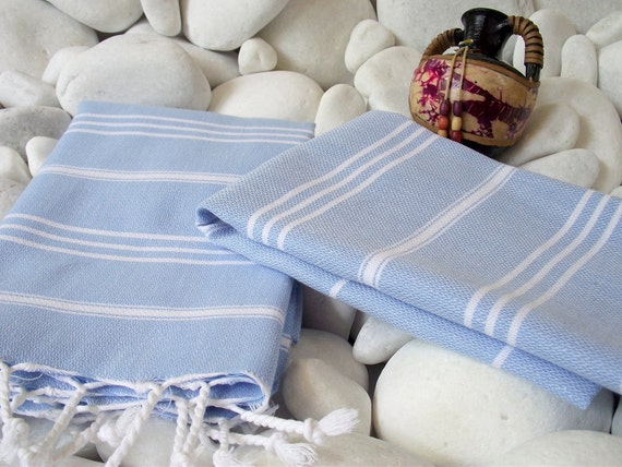 High Quality- Set of 2- Hand Woven Turkish Cotton Hand Towel,Hair Towel or Unisex Neck Warmer-White Stripes on Pale Blue