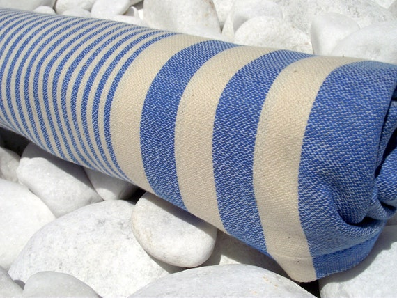 High Quality Hand Woven Turkish Cotton Bath Towel or Sarong-Natural Cream Stripes on Blue
