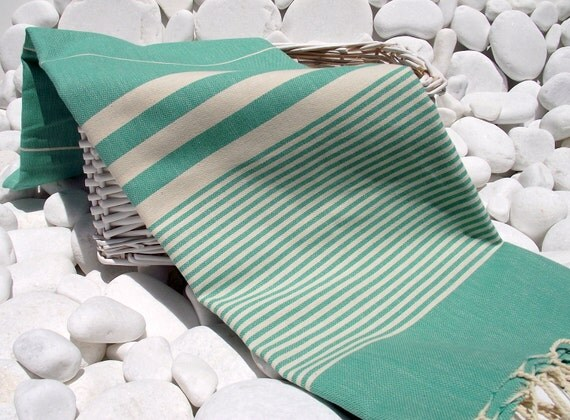 High Quality Hand Woven Turkish Cotton Bath,Beach,Pool,Spa,Yoga Towel or Sarong- Natural Cream Stripes on Emerald Green