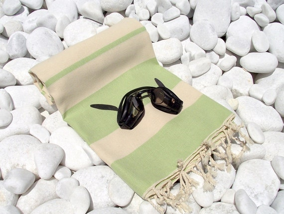 Best Quality Hand Woven Turkish Cotton Bath,Beach,Pool,Spa,Yoga,Travel Towel or Sarong-Natural Cream and Lime Green